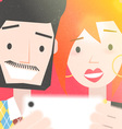 Dating Young Couple Taking a Selfie Photo vector image vector image