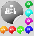 Buildings icon sign Set of eight multi colored vector image