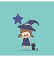 Cute witch holding the star-shaped vector image