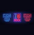 i love rock neon sign bright banner symbol vector image