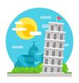 Leaning tower of Pisa flat design landmark vector image