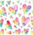 rainbow hearts seamless patter vector image