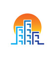 sunset skyscrapers building contruction logo vector image