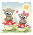 two cute cartoon bears vector image