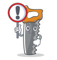 with sign hand saw character cartoon vector image