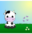 Cute cow sitting in grass vector image
