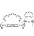Classic royal armchair and sofa set vector image