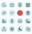 set of 16 transportation icons includes armchair vector image