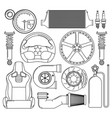auto parts icons set vector image vector image