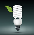 energy saving lamp with green leaf vector image