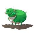 Green mutant pig has lunch vector image
