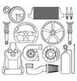 auto parts icons set vector image