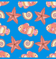 marine seamless pattern with fish starfish vector image