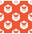 Orange hexagon wine glass pattern vector image