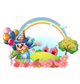 A female clown at the hill with a rainbow vector image vector image