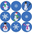 snowman and snowflake collection vector image vector image