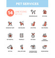 Pet services - modern single line icons set vector image