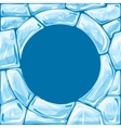 Round frame on blue Ice seamless pattern vector image