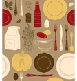 Different tableware food ingredients vector image vector image