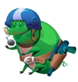 Green pig mutant pilot with a toy gun vector image