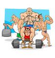 athletes at the gym cartoon vector image