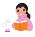Cute woman reading book vector image
