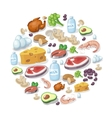 Flat icons of meat and dairy products vector image