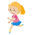 girl with blond hair running vector image