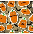 Halloween pumpkins seamless- stickers vector image
