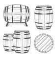 set Barrels in Vintage Style vector image