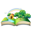 A book with a story of a house at the forest vector image