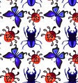 ladybug butterfly and beetle seamless pattern vector image
