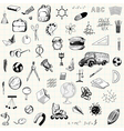 Hand drawn school props set vector image