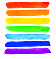 set of 7 colorful watercolor rainbow brush strokes vector image vector image