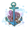 Vintage hand drawn anchor and octopus vector image vector image