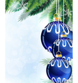 Blue Christmas tree balls and pine branches vector image