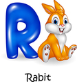 Cartoon of R letter for Rabbit Cartoon vector image