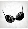 Female bra floral ornament for your design vector image