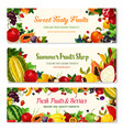 fruits and berries farm banners templates vector image