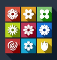 Set of flower icons with long shadow vector image