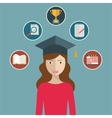 woman graduates in graduation hat Student vector image