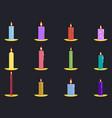 candles flat set isolated on black background vector image