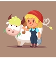 Cute catroon girl with cow vector image