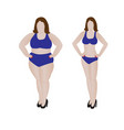fat and slim girl weight loss fitness vector image