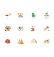 Flat color design mexican cuisine icons vector image