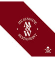 meat and wine logo restaurant menu on red vector image