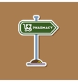 paper sticker on stylish background pharmacy sign vector image