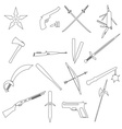 weapons and guns simple outline icons eps10 vector image