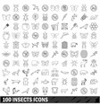 100 insects icons set outline style vector image vector image