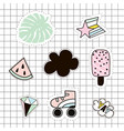 fashion patches set lipsrollerpalm branchice vector image